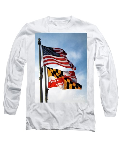 Us And Maryland Flags Long Sleeve T-Shirt