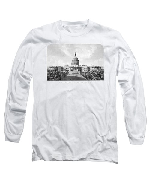 Us Capitol Building - Washington Dc Long Sleeve T-Shirt by War Is Hell Store