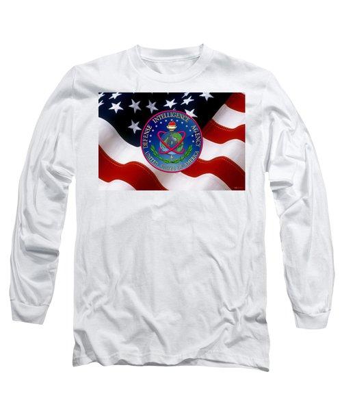U. S. Defense Intelligence Agency - D I A Emblem Over Flag Long Sleeve T-Shirt