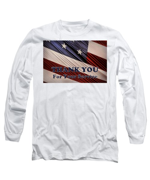 Long Sleeve T-Shirt featuring the photograph Usa Military Veterans Patriotic Flag Thank You by Shelley Neff
