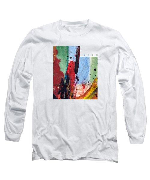 Utah Map Art - Painted Map Of Utah Long Sleeve T-Shirt
