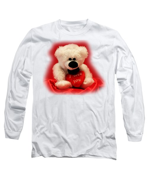 Valentine Bear Long Sleeve T-Shirt by Linda Phelps