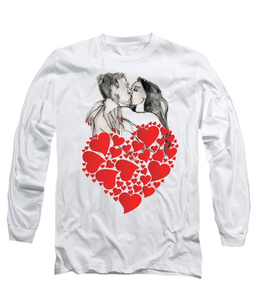 Long Sleeve T-Shirt featuring the painting Valentine's Kiss - Valentine's Day by Carolyn Weltman