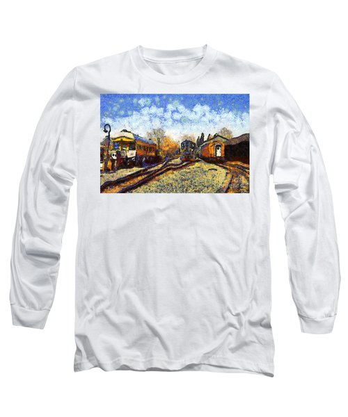 Van Gogh.s Train Station 7d11513 Long Sleeve T-Shirt