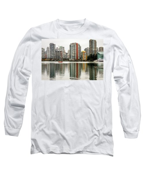 Vancouver Bc Sky Line Long Sleeve T-Shirt by Menachem Ganon
