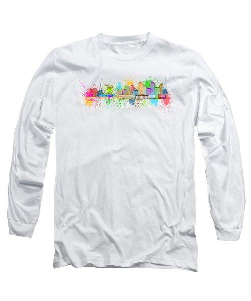 Vancouver Bc Skyline Paint Splatter Illustration Long Sleeve T-Shirt