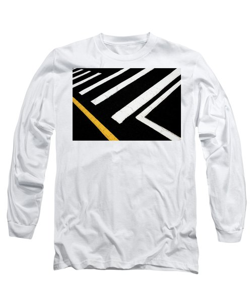 Long Sleeve T-Shirt featuring the photograph Vanishing Traffic Lines With Colorful Edge by Gary Slawsky