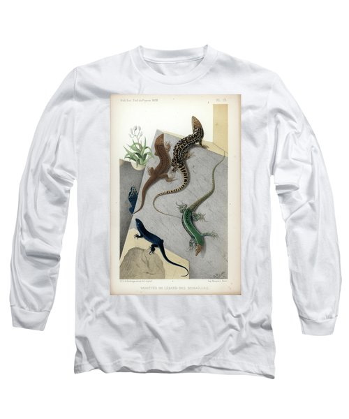 Varieties Of Wall Lizard Long Sleeve T-Shirt by Jacques von Bedriaga