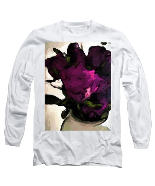 Vase Of Roses With Shadows 1 Long Sleeve T-Shirt