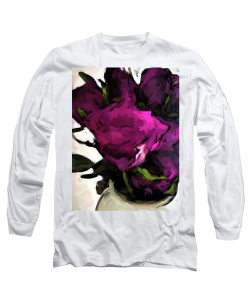 Vase Of Roses With Shadows 2 Long Sleeve T-Shirt