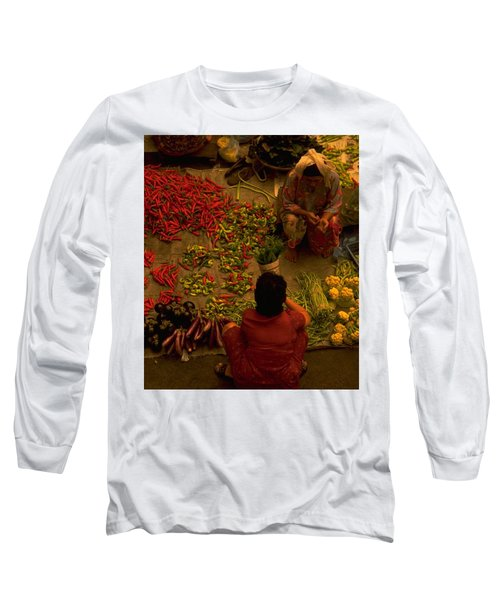 Long Sleeve T-Shirt featuring the photograph Vegetable Market In Malaysia by Travel Pics