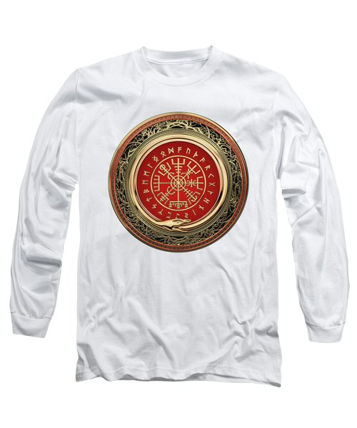 Vegvisir - A Silver Magic Viking Runic Compass On White Leather Long Sleeve T-Shirt
