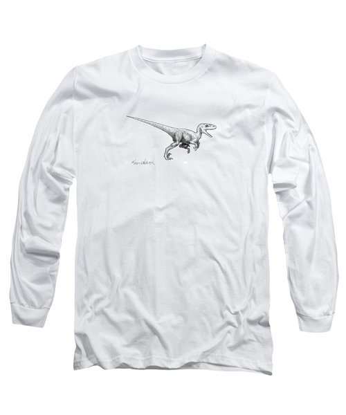 Long Sleeve T-Shirt featuring the drawing Velociraptor - Dinosaur Black And White Ink Drawing by Karen Whitworth