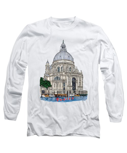 Long Sleeve T-Shirt featuring the drawing Venice  by Andrzej Szczerski