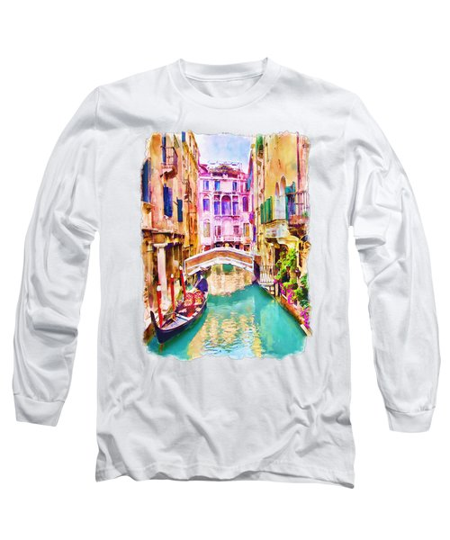 Venice Canal 2 Long Sleeve T-Shirt by Marian Voicu