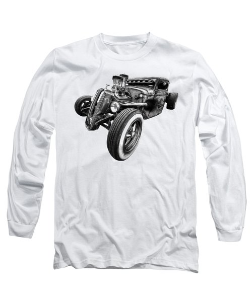 Vermin's Diner Rat Rod Front In Black And White Long Sleeve T-Shirt