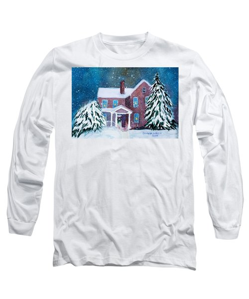Long Sleeve T-Shirt featuring the painting Vermont Studio Center In Winter by Donna Walsh