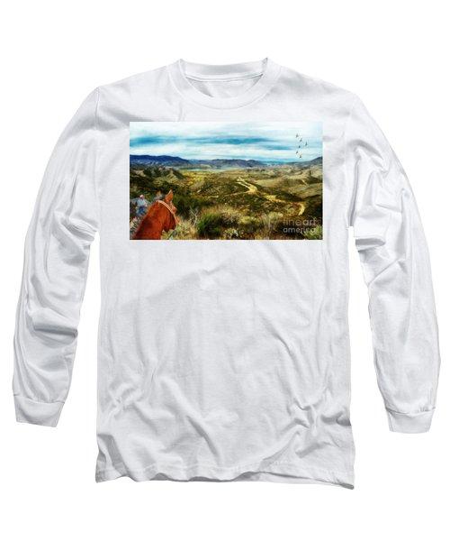 View Of Vail Lake On Horseback Long Sleeve T-Shirt