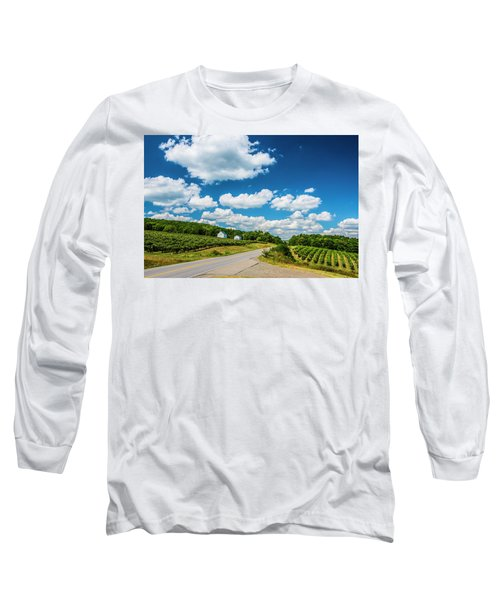 Vineyards In Summer Long Sleeve T-Shirt by Steven Ainsworth
