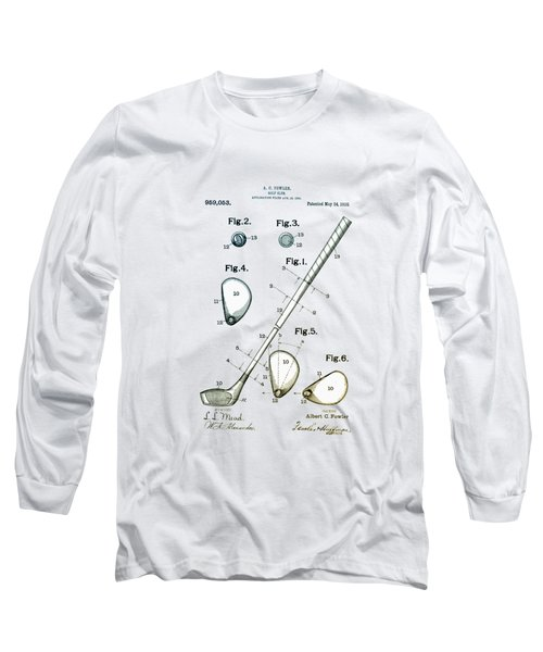 Long Sleeve T-Shirt featuring the drawing Vintage 1910 Golf Club Patent by Bill Cannon