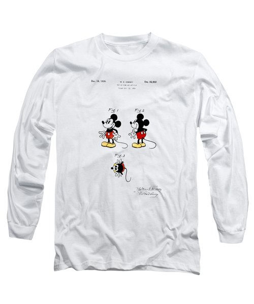 Long Sleeve T-Shirt featuring the digital art Vintage 1930 Mickey Mouse Patent by Bill Cannon