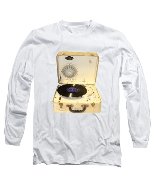 Vintage 1950s Record Player And Vinyl Record Long Sleeve T-Shirt