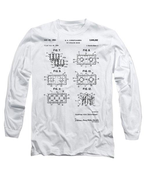 Vintage 1961 Lego Brick Patent Art Long Sleeve T-Shirt