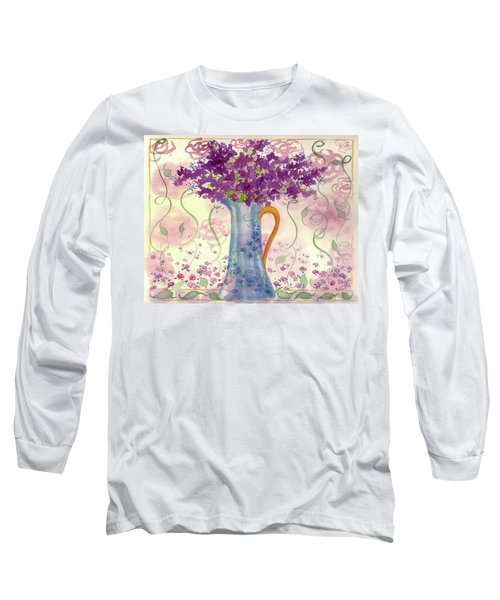 Long Sleeve T-Shirt featuring the painting Vintage Blue Flower Bouquet by Cathie Richardson