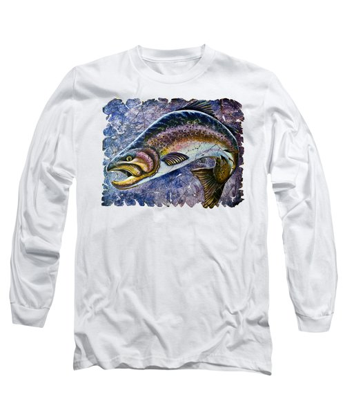 Vintage Blue Trout Fresco  Long Sleeve T-Shirt by Lena  Owens OLena Art