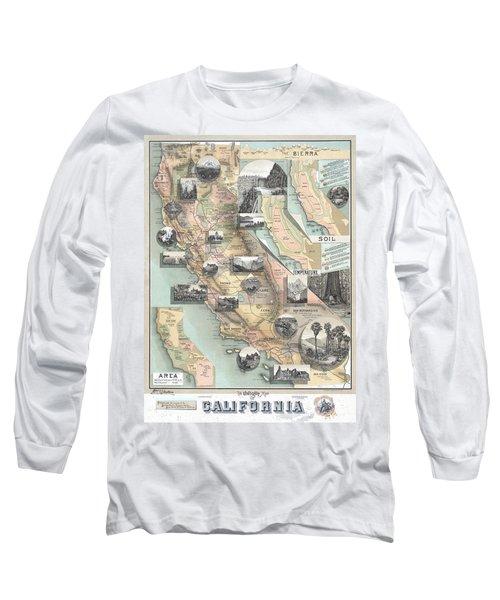 Vintage California Map Long Sleeve T-Shirt