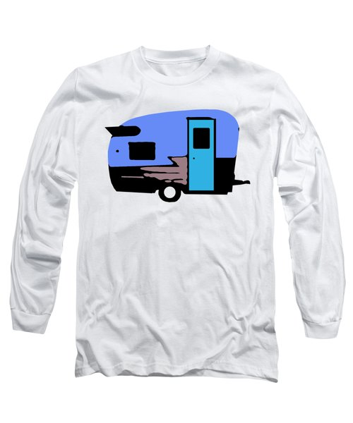 Long Sleeve T-Shirt featuring the painting Vintage Camper Trailer Pop Art Blue by Edward Fielding