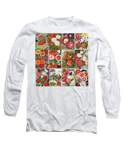 Vintage Childs Nursery Flower Seed Packets Mosaic  Long Sleeve T-Shirt by Peggy Collins