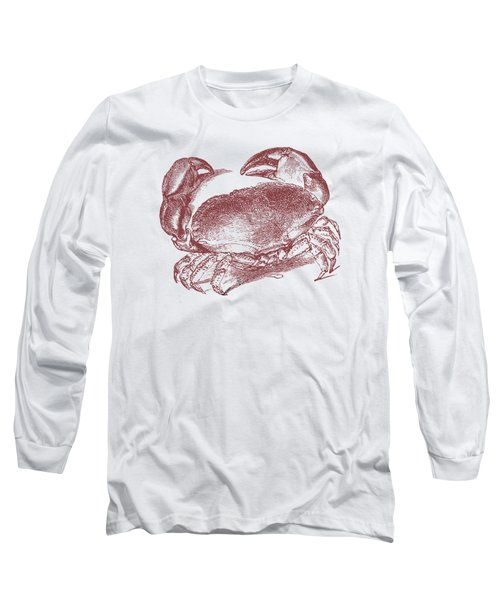 Long Sleeve T-Shirt featuring the digital art Vintage Crab Tee by Edward Fielding