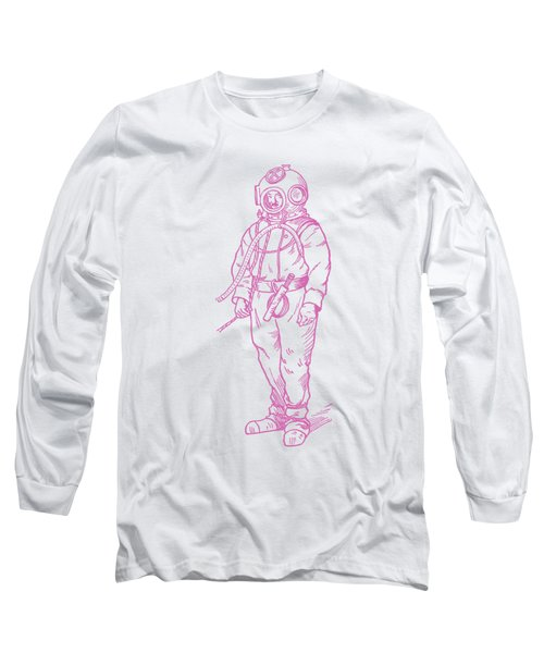 Long Sleeve T-Shirt featuring the digital art Vintage Diver by Edward Fielding