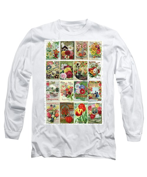 Vintage Flower Seed Packets 1 Long Sleeve T-Shirt by Peggy Collins