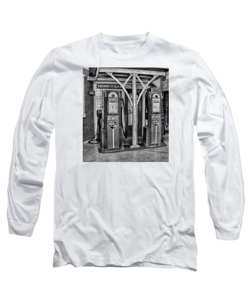 Vintage Gas Station Bw Long Sleeve T-Shirt