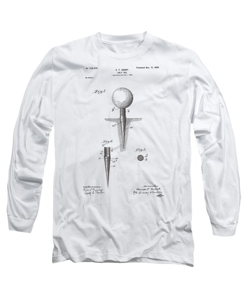 Long Sleeve T-Shirt featuring the drawing Vintage Golf Tee Patent 1899 by Bill Cannon
