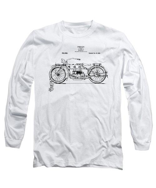 Vintage Harley-davidson Motorcycle 1919 Patent Artwork Long Sleeve T-Shirt