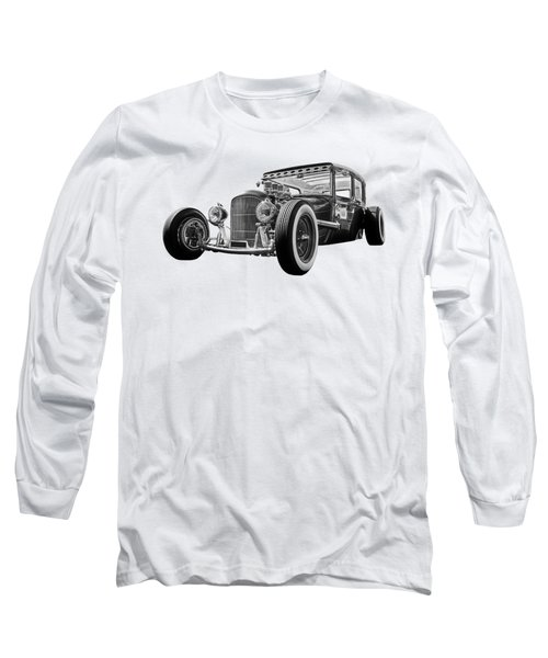 Vintage Hot Rod In Black And White Long Sleeve T-Shirt