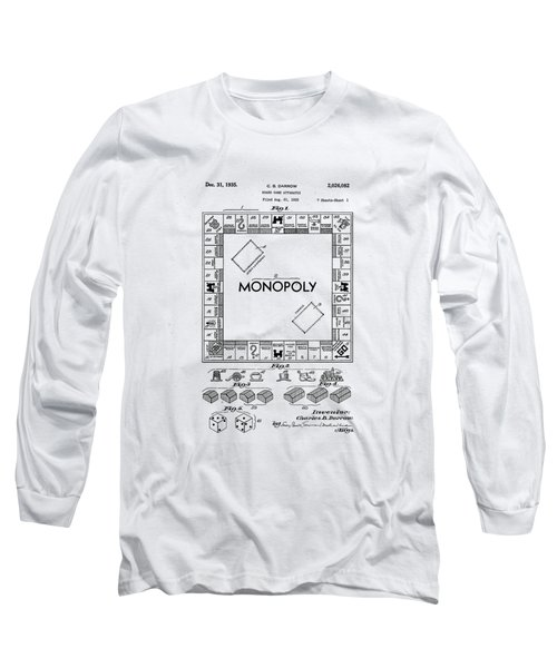 Long Sleeve T-Shirt featuring the photograph Vintage Monopoly Patent 1935 by Bill Cannon