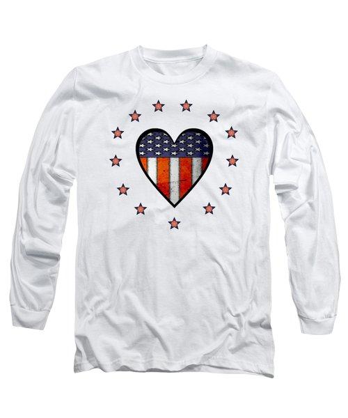 Vintage Patriotic Heart Long Sleeve T-Shirt