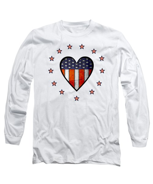 Vintage Patriotic Heart Long Sleeve T-Shirt