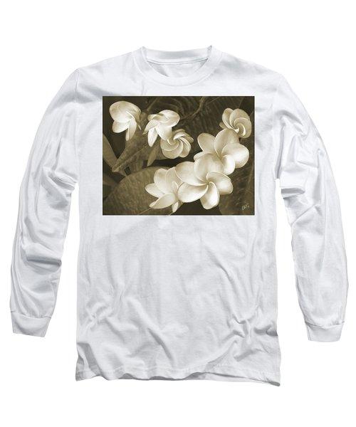 Vintage Plumeria Long Sleeve T-Shirt by Ben and Raisa Gertsberg