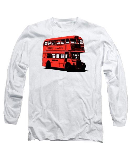 Vintage Red Double Decker London Bus Tee Long Sleeve T-Shirt by Edward Fielding