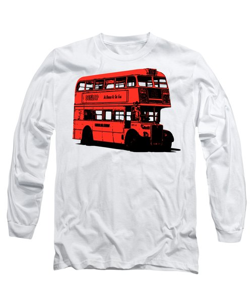 Vintage Red Double Decker London Bus Tee Long Sleeve T-Shirt