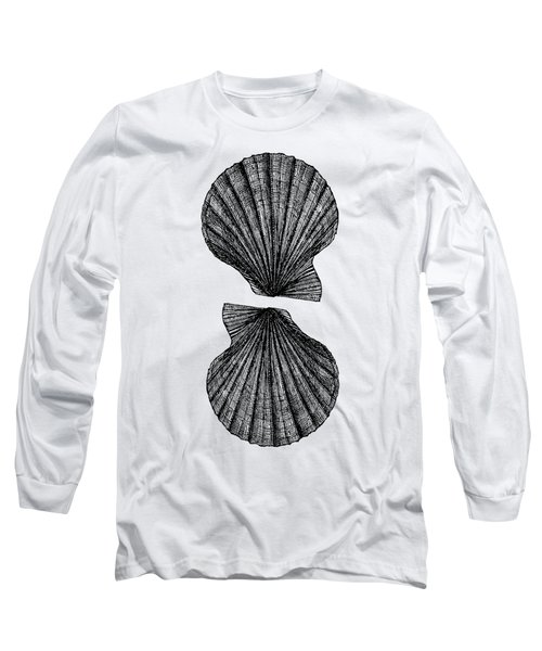 Long Sleeve T-Shirt featuring the photograph Vintage Scallop Shells by Edward Fielding