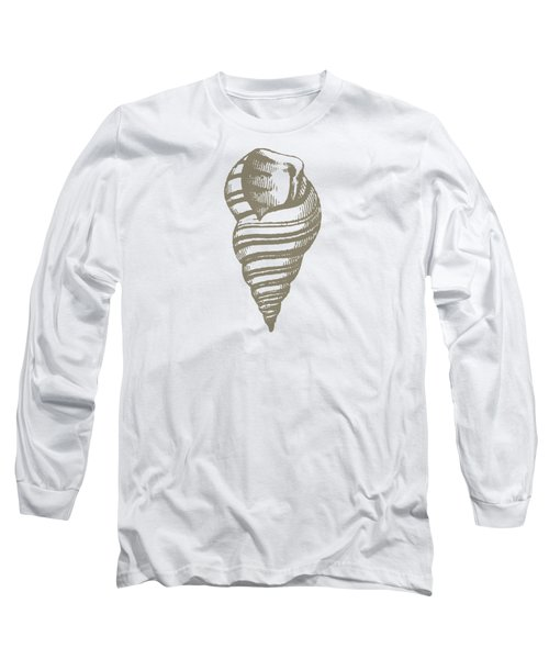 Vintage Sea Shell Illustration Long Sleeve T-Shirt by Masterpieces Of Art