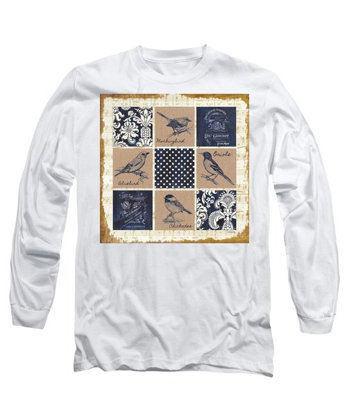 Vintage Songbird Patch 2 Long Sleeve T-Shirt by Debbie DeWitt