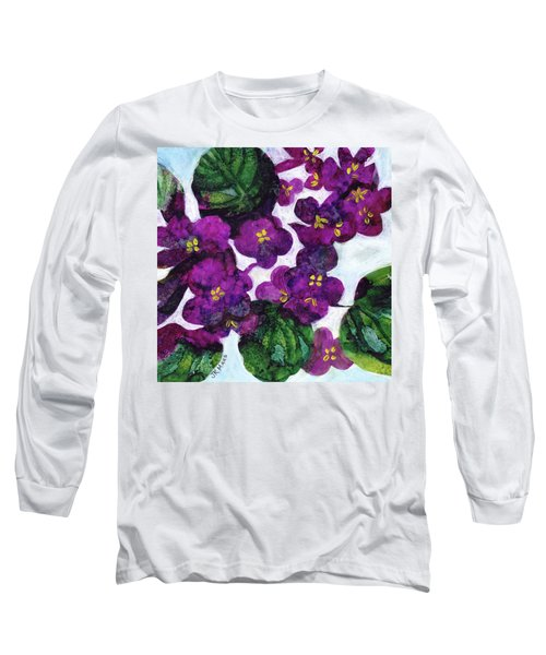 Long Sleeve T-Shirt featuring the painting Violets by Julie Maas