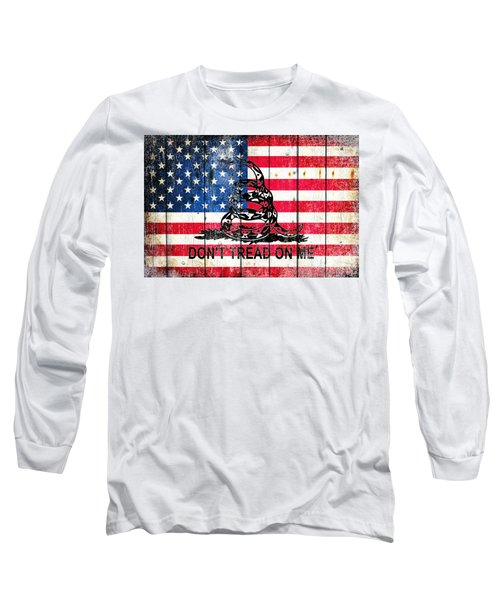 Viper On American Flag On Old Wood Planks Long Sleeve T-Shirt by M L C